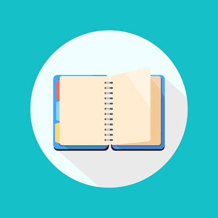 open notebook: Open notebook icon on white background. Flat style