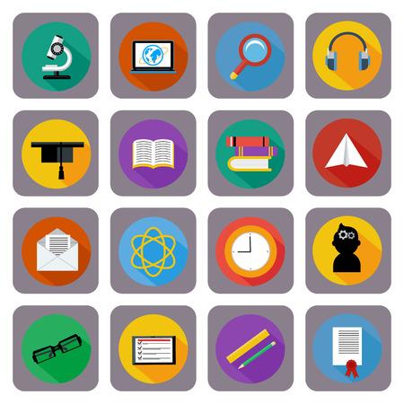 educaci�n en l�nea: Conjunto de 16 iconos cuadrados para la educaci�n en l�nea, e-learning, el conocimiento y la ciencia estilo plano con una larga sombra Vectores