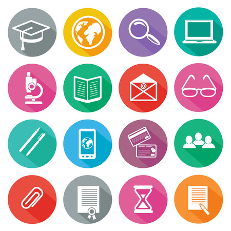 e learning: Set of 16 round icons of professional training, online education, e learning, knowledge with long shadow on white background