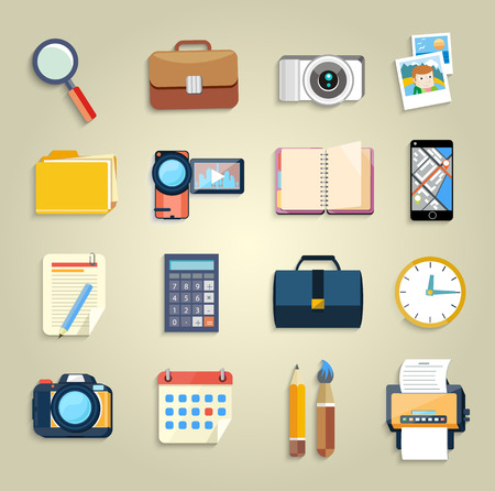 Web design objects, business, office and marketing items icons flat design Vector