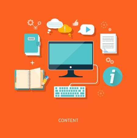 blog design: Content concept monitor with keyboard and documents in flat design style Illustration
