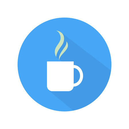 Coffee icon cup on blue and white background. Flat style Vector