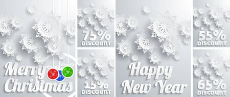 Background set for Christmas and New Year big sales with snowflakes, discount percentage and christmas balls on white background Vector