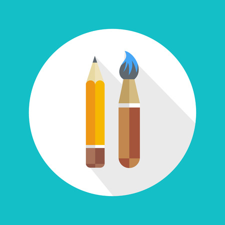 Pen and brush icon with long shadow. Flat style