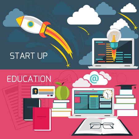 educaci�n en l�nea: Concepto de dise�o plano para la creaci�n de empresas y la educaci�n en l�nea con el ordenador port�til conectado a internet Vectores