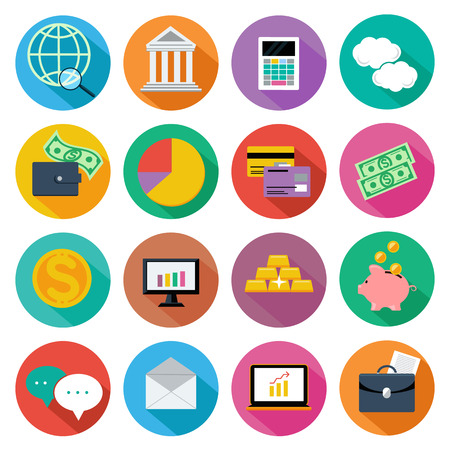Set of 16 circle icon of financial business, investment management, consulting services on white background flat design