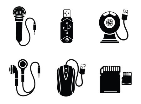 flash drive: Icon set with web camera, flash drive, earpieces, memory stick, mouse, microphone on white background Illustration