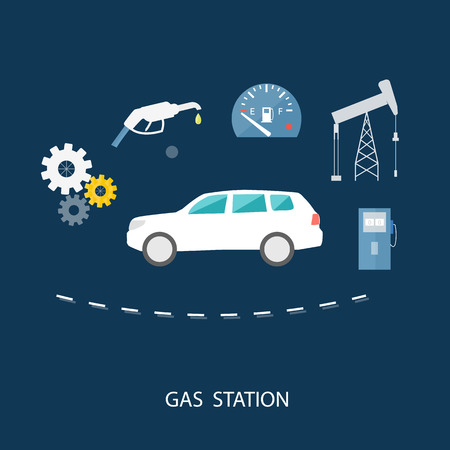 fueling pump: Car in gas station. Fuel petrol dispenser pump handles and pillars. Fueling in flat design style