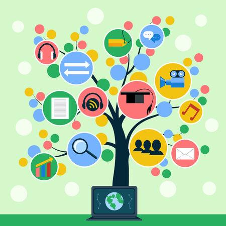 educaci�n en l�nea: �rbol con iconos de web en rama. Concepto de medios de comunicaci�n social, la educaci�n en l�nea, comercio electr�nico, finanzas y negocios dise�o plano