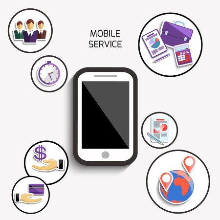 Concept of mobile services and applications for business and finance with smartphone surrounded business symbols Vector