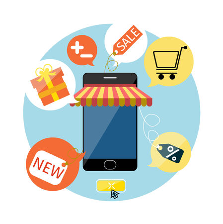 carport: Internet shopping concept smartphone with awning of buying products via on line shop store e-commerce ideas e-commerce symbols sale elements