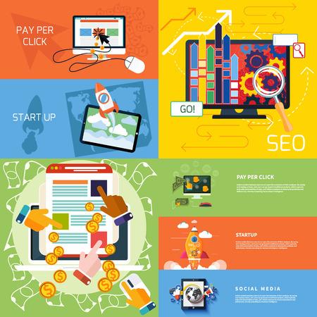 Concepto de diseño plano de proyecto nuevo negocio o producto nuevo arranque, seo y de pago por clic publicidad en Internet