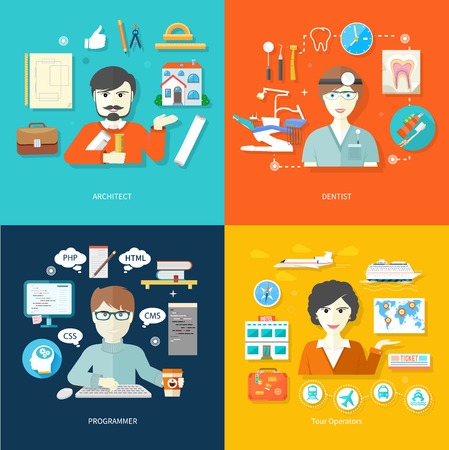 an engineer: Professions concept with female travel agent, engineer architect constructor worker, dentist in uniform, male computer programmer flat design