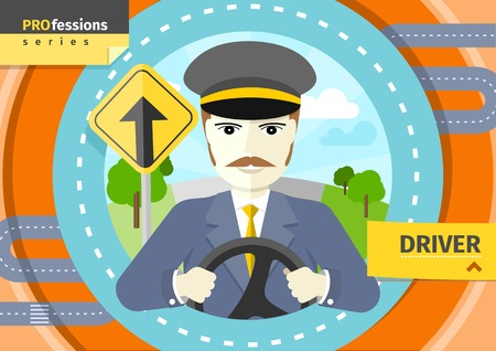 driver: Profession concept with mustache male driver in uniform and cap behind the wheel Illustration