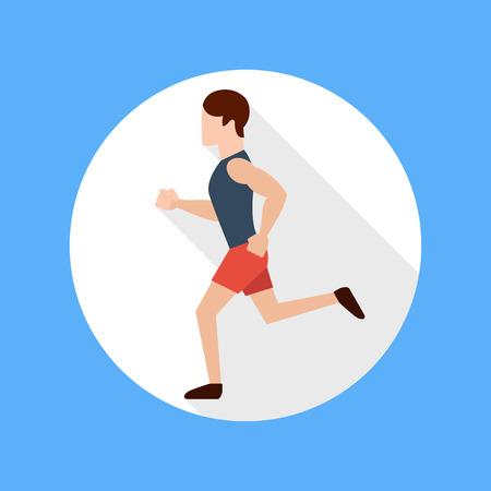Hombre corriente en el estilo de diseño plano. Mantener ejercicios aptos y trotar