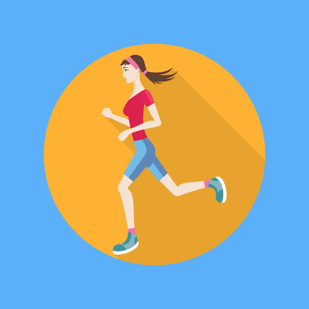 keeping fit: Running woman in flat design style. Keeping fit exercises and jogging