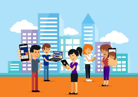Jongeren man en vrouw met behulp van technologie gadget smartphone mobiele telefoon tablet pc laptop computer in de sociale netwerk communicatie concept op stadsstad achtergrond cartoon platte design stijl met copyspace