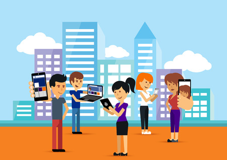 woman smartphone: Young people man and woman using technology gadget smartphone mobile phone tablet pc laptop computer in social network communication concept on city town background flat design cartoon style with copyspace