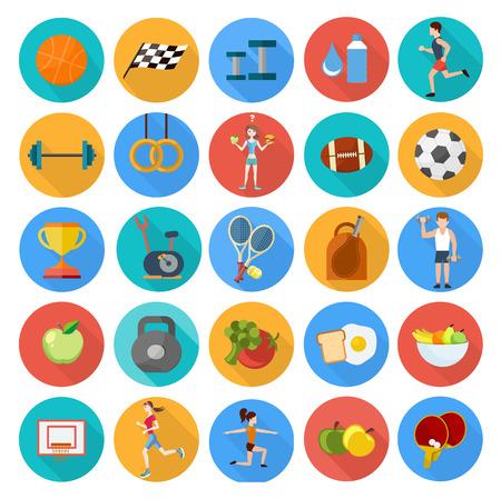 guante de beisbol: Conjunto de iconos del deporte en diseño plano