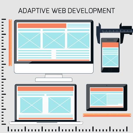 평면 설계에 적응 웹 개발에 대 한 아이콘입니다. ruller와 다른 화면 크기의 모니터 장치