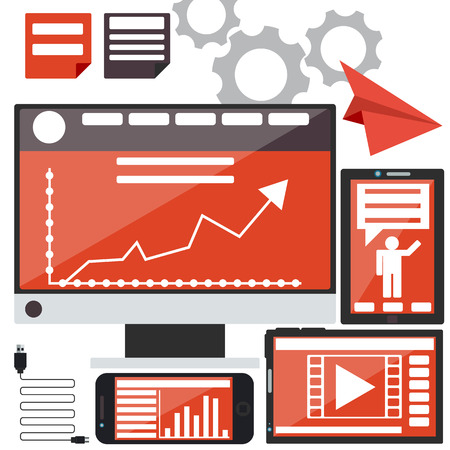 business news: E-Business concept, computers, smartphone and tablet pc with graphs and business news in device in flat design style Illustration