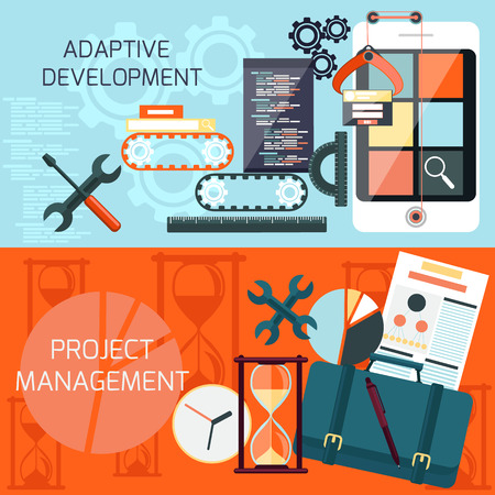Icons for adaptive development and project management in flat design Illustration