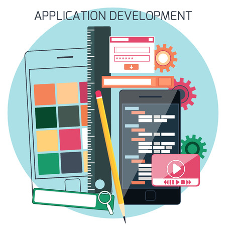 adaptive: Icons for adaptive application development in flat design. Smartphones with site coding pencil and ruller Illustration