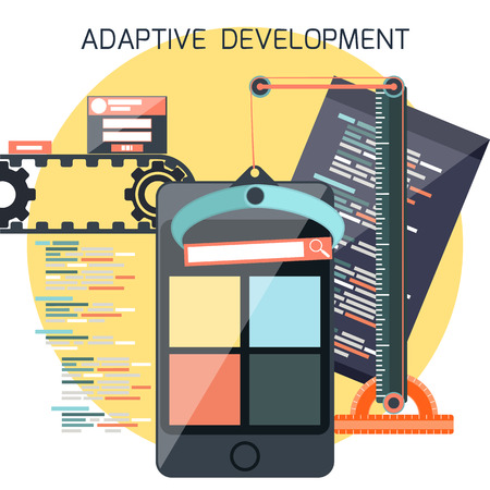 adaptive: Icons for adaptive application development in flat design. Smartphones with site coding pencil and building crane ruller Illustration