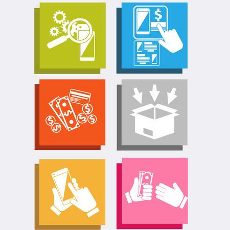 orden de compra: Iconos grandes de la venta de tecnolog�a de comercio electr�nico en l�nea de compras el concepto de internet y de entrega en el estilo de dise�o plano. Procesos comerciales de la orden de compra. El cliente paga el env�o Vectores