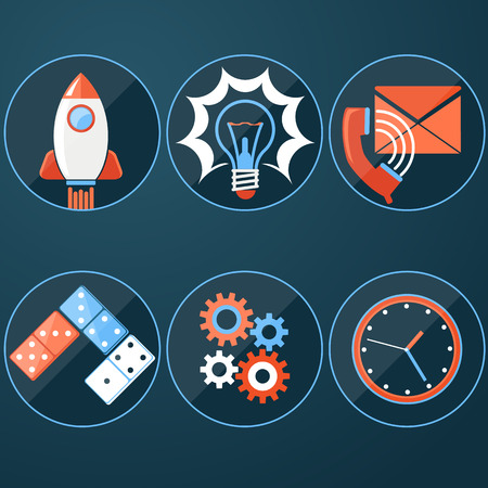 Business start up icon template. Start up rocket idea. New business project start up, launching new product or service in flat design Vector