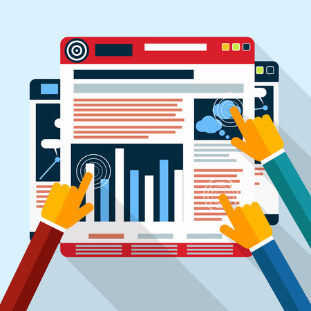 Web site analytics charts on screen of PC. SEO Search Engine Optimization programming business up trend statistics infographics diagram in flat design style Vector