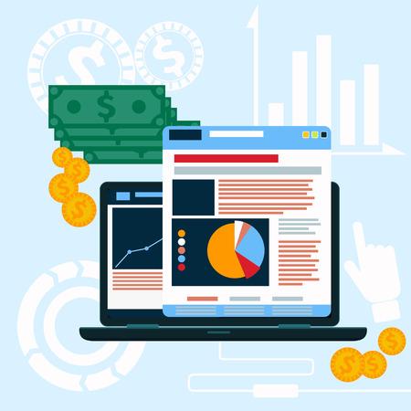PC の画面で web サイト分析チャート。フラット デザインのスタイルにトレンド統計インフォ グラフィック ダイアグラムをビジネスのプログラミング