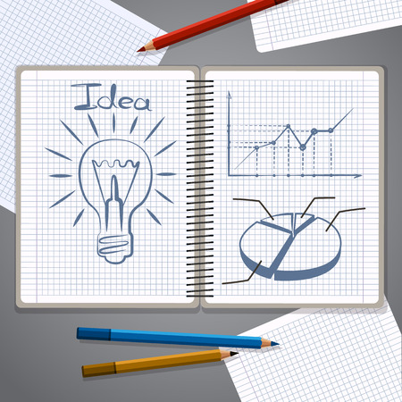 Notebook with pencil drawing chart graph and lightbulb success business strategy plan concept idea. Abstract infographic workflow layout diagram step up options template design Vector