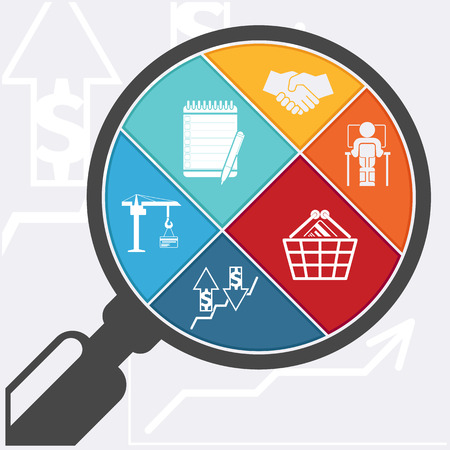 Magnifying glass and shopping basket handshake clipboard graph man infographic flat design style Ilustração