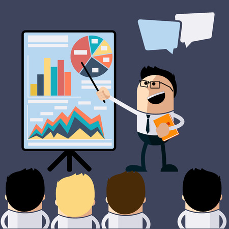 Meeting businessman pointing presentation infogarhics board concept in flat design style cartoon. Business man pointing presentation board with graph charts Иллюстрация