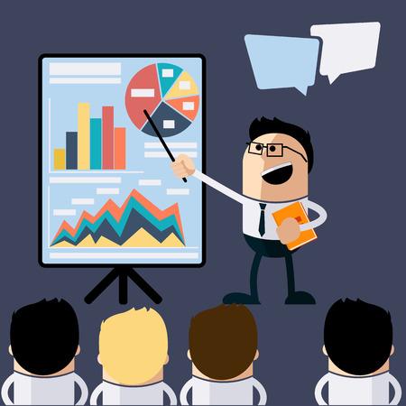 Ontmoeting zakenman die presentatie infogarhics boord concept in de platte design stijl cartoon. Bedrijfs mens die presentatie bord met grafiek grafieken