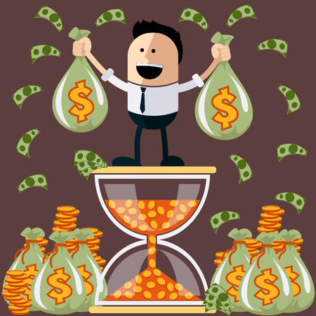 flying money: Smiling businessman standing on the hourglass in which coin holding bags of money. Winnings in lottery. Flying around dollar notes cartoon flat design style