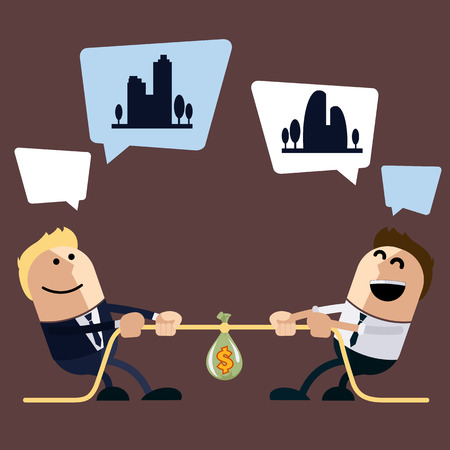 pulling money: Two businessman pulling rope in middle of which sack bag wiyh money for dream and bubble for text cartoon flat design style