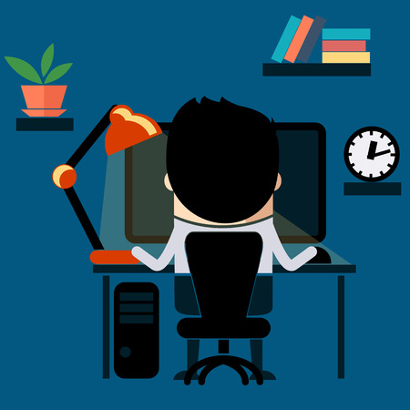 tired cartoon: Man sitting on chair at table in front of computer monitor and shining lamp cartoon flat design style