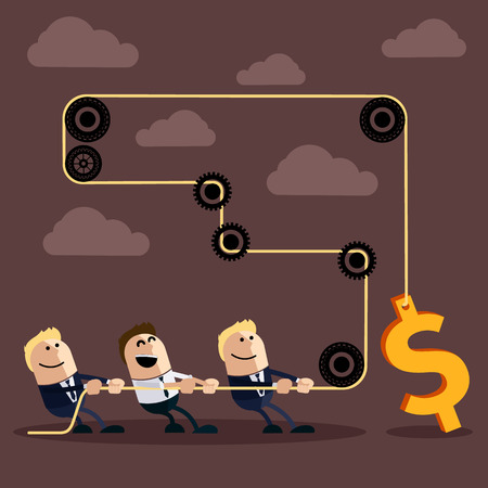 team effort: Happy businessman pulling rope with dollar through several intermediaries gears cartoon flat design style