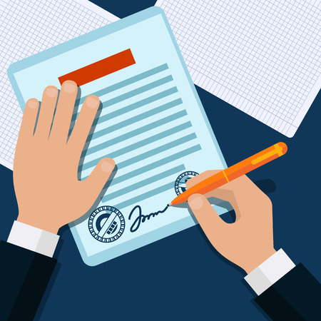 Man signs document stamped handle puts his signature cartoon flat design style Illustration
