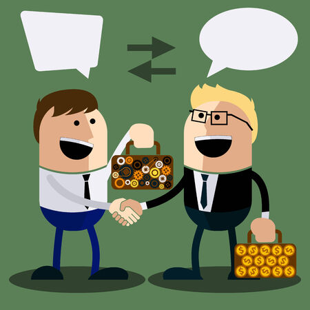 giving money: Happy business man make handshake sharing exchange case studies in which idea of ??invention and money cartoon flat design style