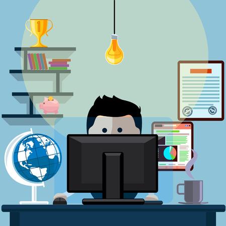 Homem sentado na cadeira à mesa na frente do monitor do computador e brilhante estilo cartoon design plano de lâmpada