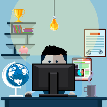 hard working man: Man sitting on chair at table in front of computer monitor and shining lamp cartoon flat design style