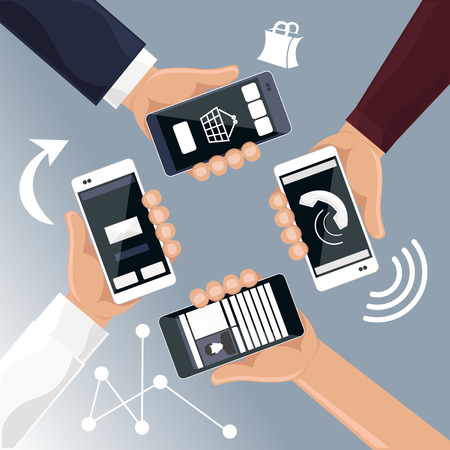 bought: Hands holding smartphones telephones that call send sms bought products online cartoon flat design style Illustration