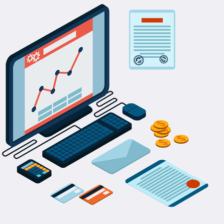 Infographic concept with icons set of modern business working elements, finance paperwork objects and financial planning for development business project. Computer calculator paper card letter on table with prospect flat design