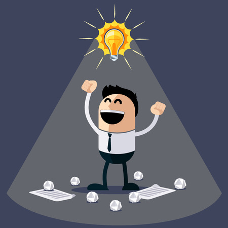 happy businessman: Businessman with ideas. Happy funny cartoon character. Businessman with lightbulb over his head and crumpled sheets of paper under feet flat design style