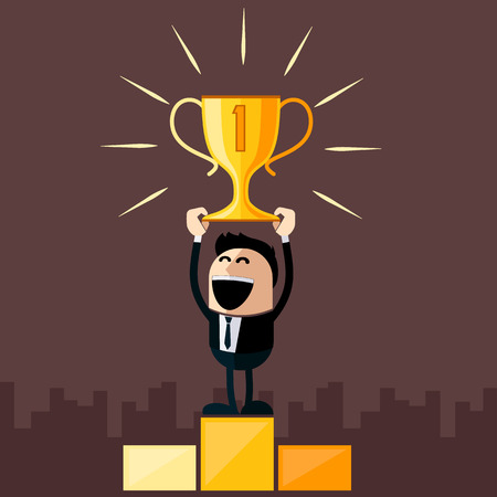 at first: Happy businessman stands on pedestal holds cup overhead cartoon flat design style