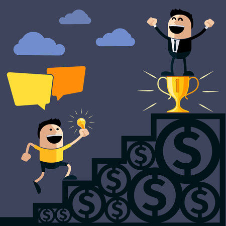 ascends: Happy businessman stands on pedestal cup money another person ascends to him steps and holding lightbulb idea cartoon flat design style Illustration