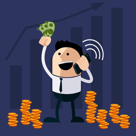 connect people: Happy man holding money and phone cartoon flat design style